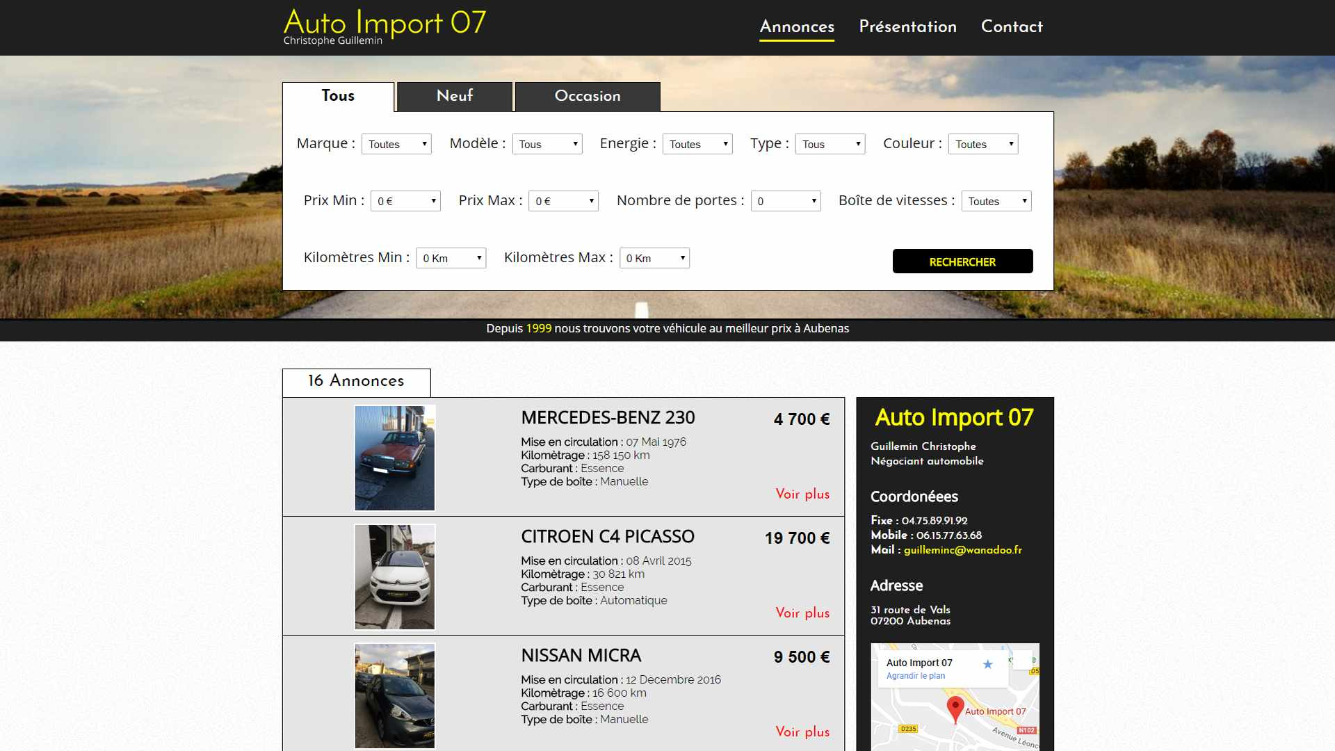 Photo du site AutoImport07
